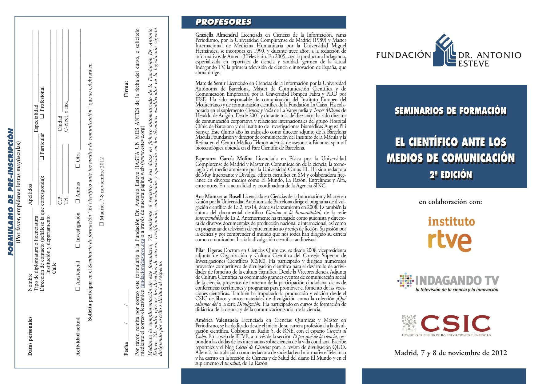 """Curso """"El científico ante los Medios de Comunicación"""" curso cientificomedios esteve 2012jpg"""