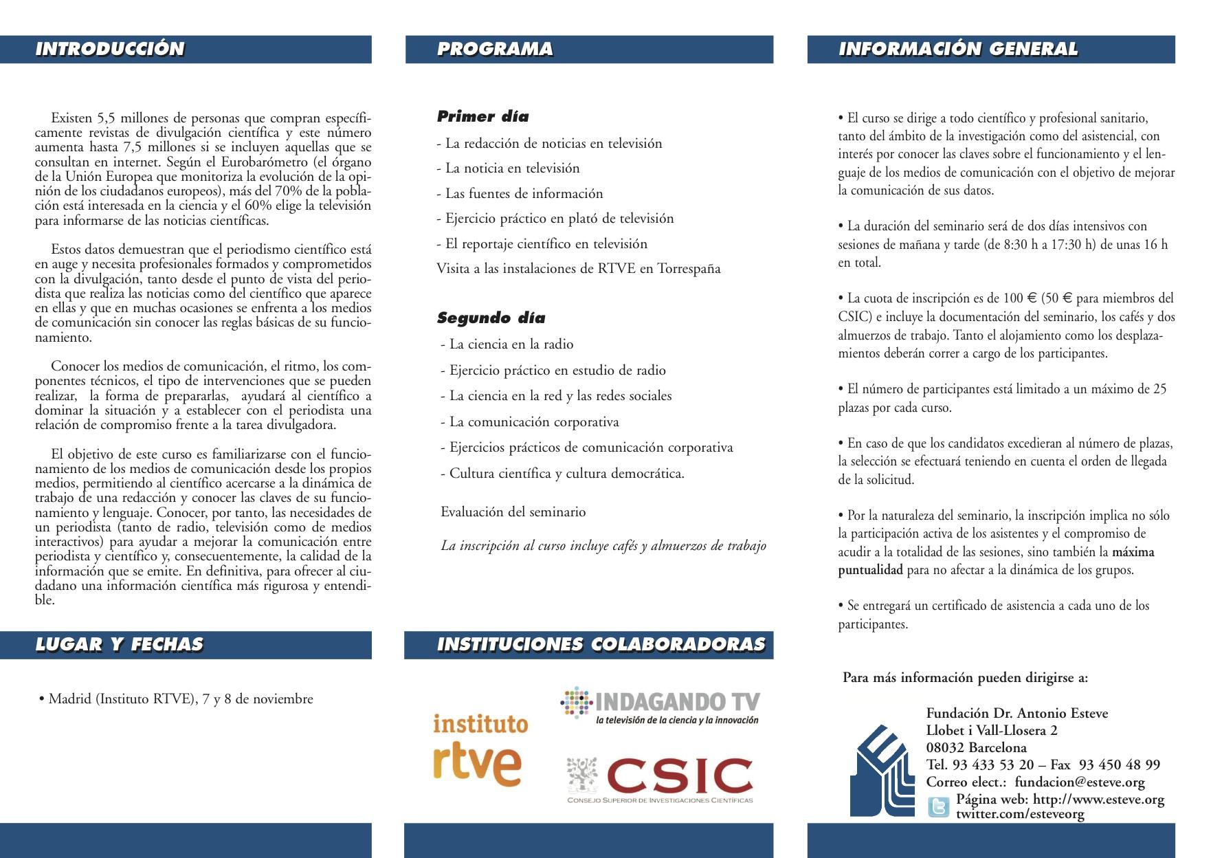 Programa del curso El científico ante los Medios de Comunicación