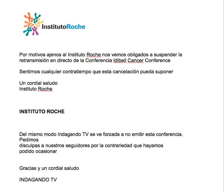 Cancelación de la Retransmisión Idibell Cancer Conference cancelacic3b3n ok castellanojpg1