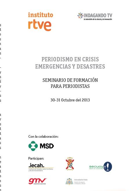 Imagen  Periodismo en Crisis, Emergencias y Catástrofes. Inscripción abierta portada