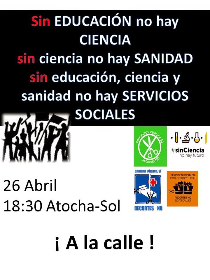 Imagen  Manifestación por la ciencia, 26 de Abril en Madrid cartel 26a